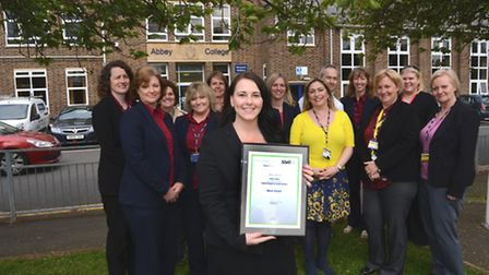 Silver Award for Parental Engagement for Abbey College, Ramsey, with (front) Assistant Head Teacher