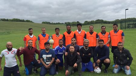 Several Indian restaurants and takeaways in Royston got together for the football match.
