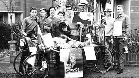 Students taking part in a fundraising exercise for World Refugee Year in 1960, raising more than £10