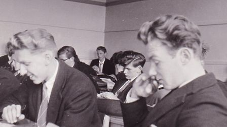 Students from the boys school in class in the 1950's