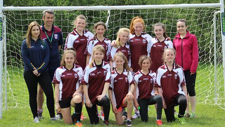 The St Colmcilles U14 girls who came out top in their first competitive Gaelic Football outing