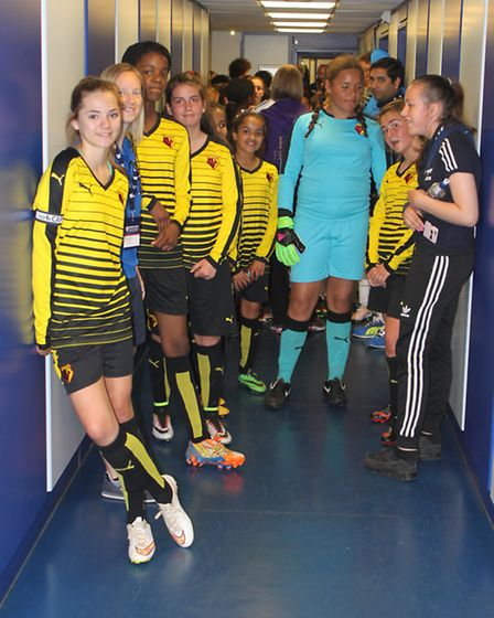 Marlborough line-up in the tunnel at Everton's Goodison Park