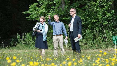 Vicky Ford MEP with Dr Jonathan Storkey and Prof Achim Dobermann (Director of Rothamsted).