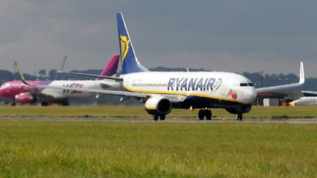 A Ryanair plane takes off at Luton Airport
