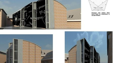 St Albans School has proposed building a new Mathematics faculty, including a 'blackboard facade'. I