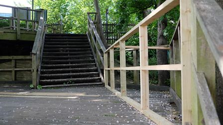 The new woodwork on the stairs at Clarence Park