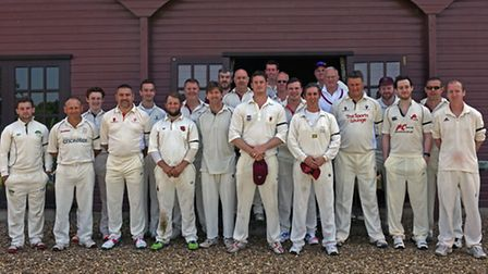 Abbots Ripton and Upwood teams at the memorial cricket match for Andre Goodison