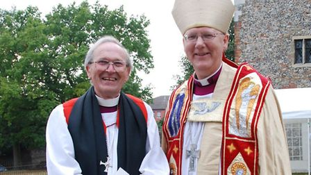 The former Bishop of St Albans John Taylor with the current bishop, the Rt Revd Dr Alan Gregory Clay