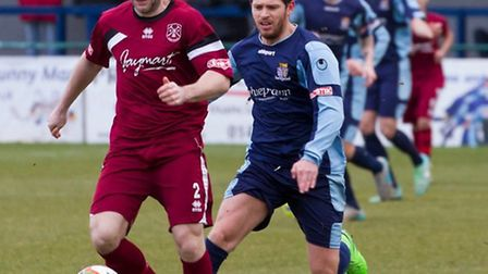Drew Roberts (right) has left St Neots Town. Picture: CLAIRE HOWES