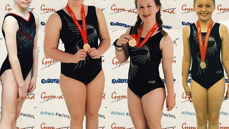 Rotations Trampoling club youngsters, from the left, Charloe Harrison, Katie Marson, Hannah Morris a