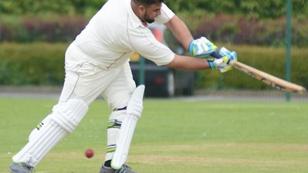 Zubair Maqsood of Huntingdon & District 2nds on his way to a half-century in their Hunts League Divi