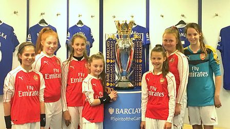 STAGS girls with the Premier League trophy