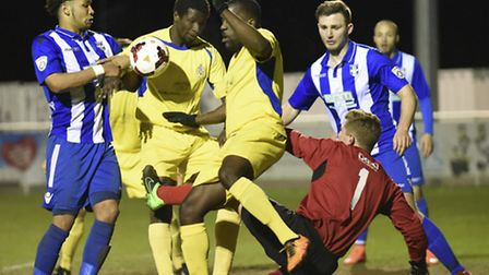 St Albans City go close against Bishop's Stortford in last year's Charity Cup final. Picture: BOB WA