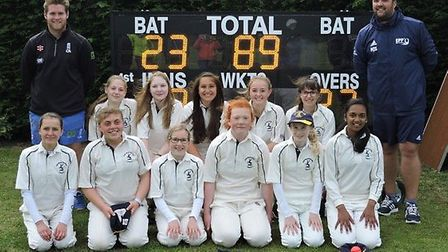 The Hunts Under 15 Girls team are, back row, left to right, Lee Smith (coach), Amelia Oliver, Taylor