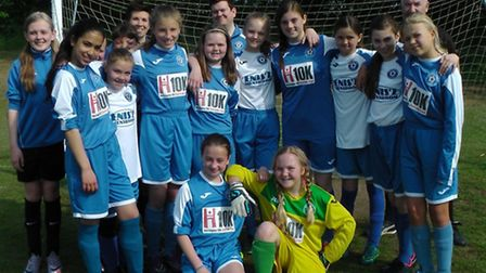 Godmanchester Rovers Girls with their sponsored Hunts 10k shirts.