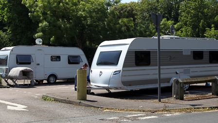 Travellers in Royston Town Hall car park