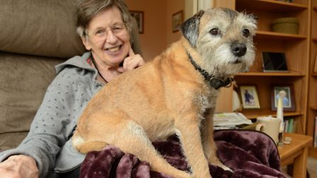 Carol Clark, at her home in Hilton, with her dog Gem,