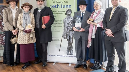The Bloomsday Celebration Banner was launched at Melbourn Village College and is heading off on a c
