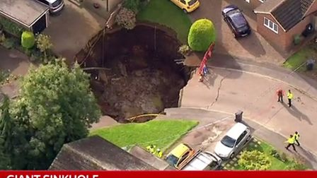 Sky News aerial footage of the sinkhole in Fontmel Close