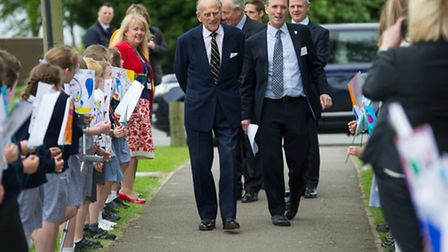 Duke of Edinburgh is welcomed by local school pupils to Graham Water where he was visiting to celebr