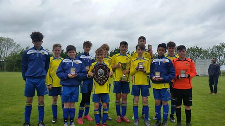 Sawtry Blue Sox Under 13s celebrate their Hunts Youth League Division A and Hunts Cup double.