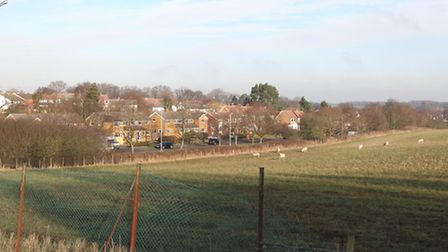 Looking from the Verulam School playing fields onto the Oaklands College land with Sandpit lane runn