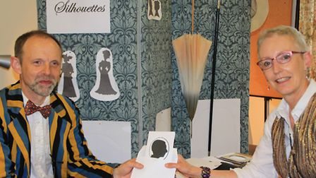 Making Edwardian style silhouettes at the United Reformed Hall. PICTURE: Clive Porter.