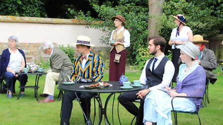 The breakfast, depicting the scene from the book, but actually in Hugh's garden. PICTURE: Clive Port