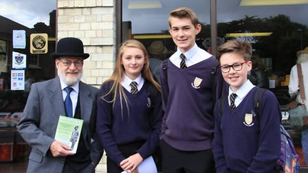Hugh Pollock, originator of The Melbourn Bloomsday Celebration Group, with Melbourn College Students