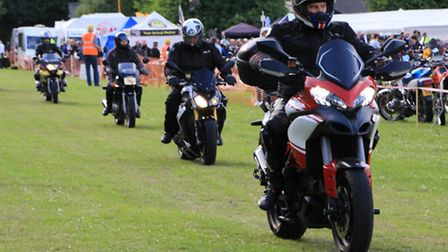 The bikers in action. PICTURE: Clive Porter.