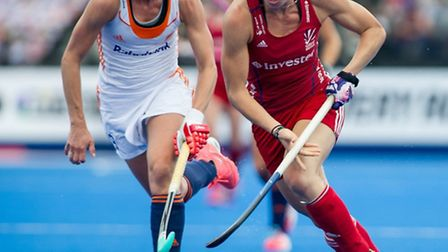 Great Britain's Susannah Townsend goes past Ellen Hoog of the the Netherlands at the Hockey Champion