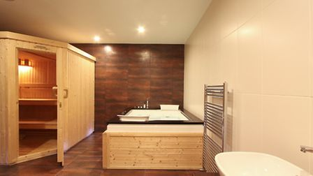 This spa room in Harpenden comes complete with sauna and jacuzzi