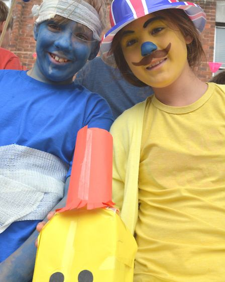 St Ives Carnival, (l-r) Stephanie and Areeya, from Wheatfields School.