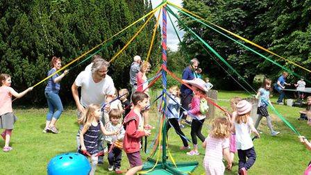 May pole dancing at Reed Flower Festival