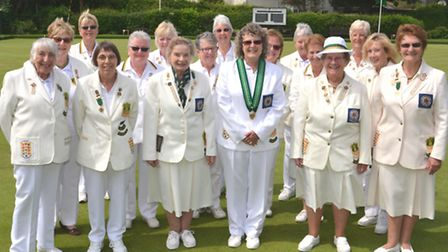 The Hunts women's team pictured ahead of their Donald Steward Trophy victory against Norfolk along w