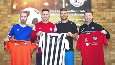 Four of St Ives Town's summer signings, from the left, Josh Dawkin, Liam McDevitt, Lee Chaffey and T