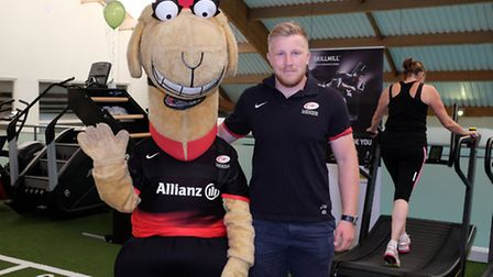 Sarrie the camel and Saracens player Jackson Wray at the Nuffield Health open day