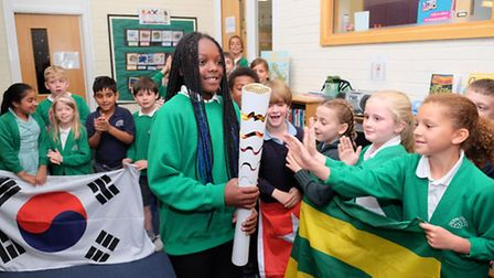Children from The Camp primary school are chosen to be gaurdians of the 2016 paralympic torch and co