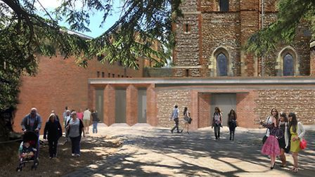 An initial image of the proposed new Welcome Centre at St Albans Cathedral