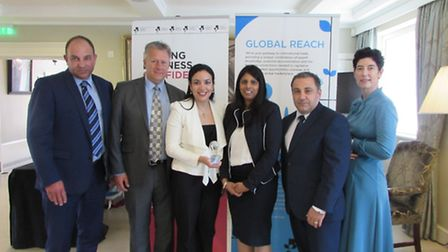 (L-R) Alistair Rogers and Steve Saunders, of the Tuplin Group; Mona El Kheshen, marketing coordinato