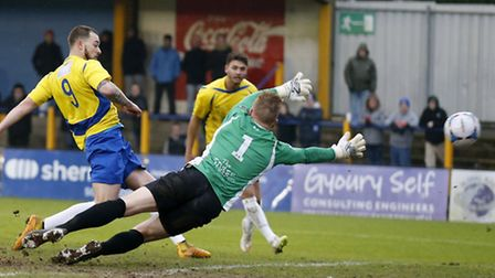 St Albans City's Louie Theophanous had a goal disallowed for handball against Concord Rangers last s