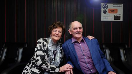 Philomena Lee and chairman of B&M Care Mr William Hughes in the new cinema