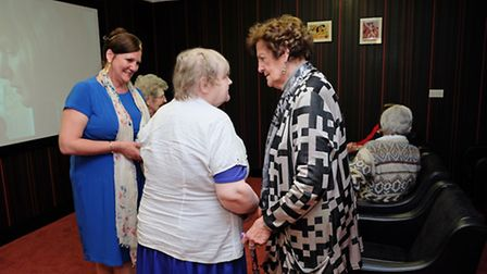 Philomena Lee and daughter Jane Libberton chat to residents in the new cinema