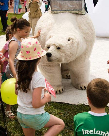 A life-size polar bear drew in a lot of attention from children