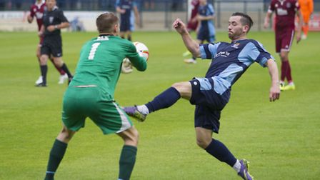 James Hall scored for St Neots in their friendly defeat against Cambridge City. Picture: CLAIRE HOWE