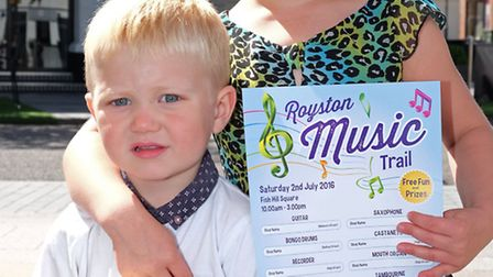 Ronnie, 2 and Phoebe Rogers, 5 on the Royston Musical Trail