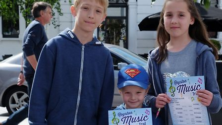 Cameron Woods, 12, Alfie Shipp, 4 and Jess Woods, 10 on the Royston Musical Trail