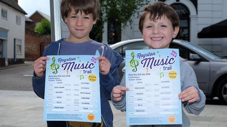 Harry, 7 and James Russell, 5, on the Royston Musical Trail