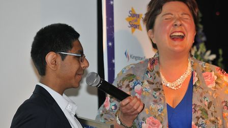 Special Recognition winner Paras Shah is interviewed by Radio Verulam's Shirley Hayman