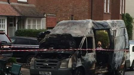 The van was burnt out in Ox Lane in Harpenden. Photo courtesy of @HertsFRSControl